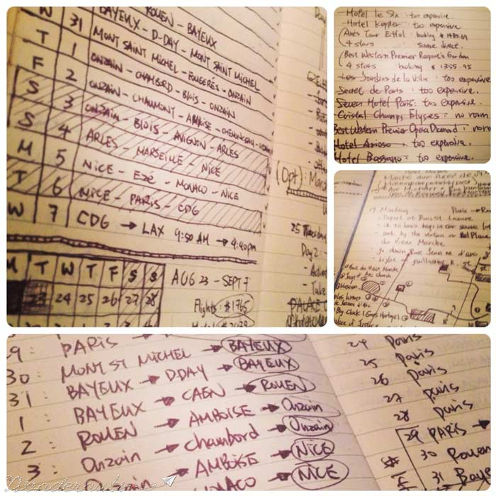 Pages from our planning journal.