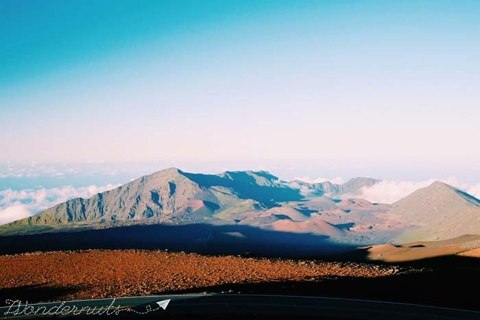 Haleakala's summit is soooo far up, that you reach the moon...or a reasonable--and just as cold--facsimile.